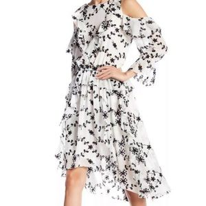 Joie Alpheus White & Black Floral Midi Dress